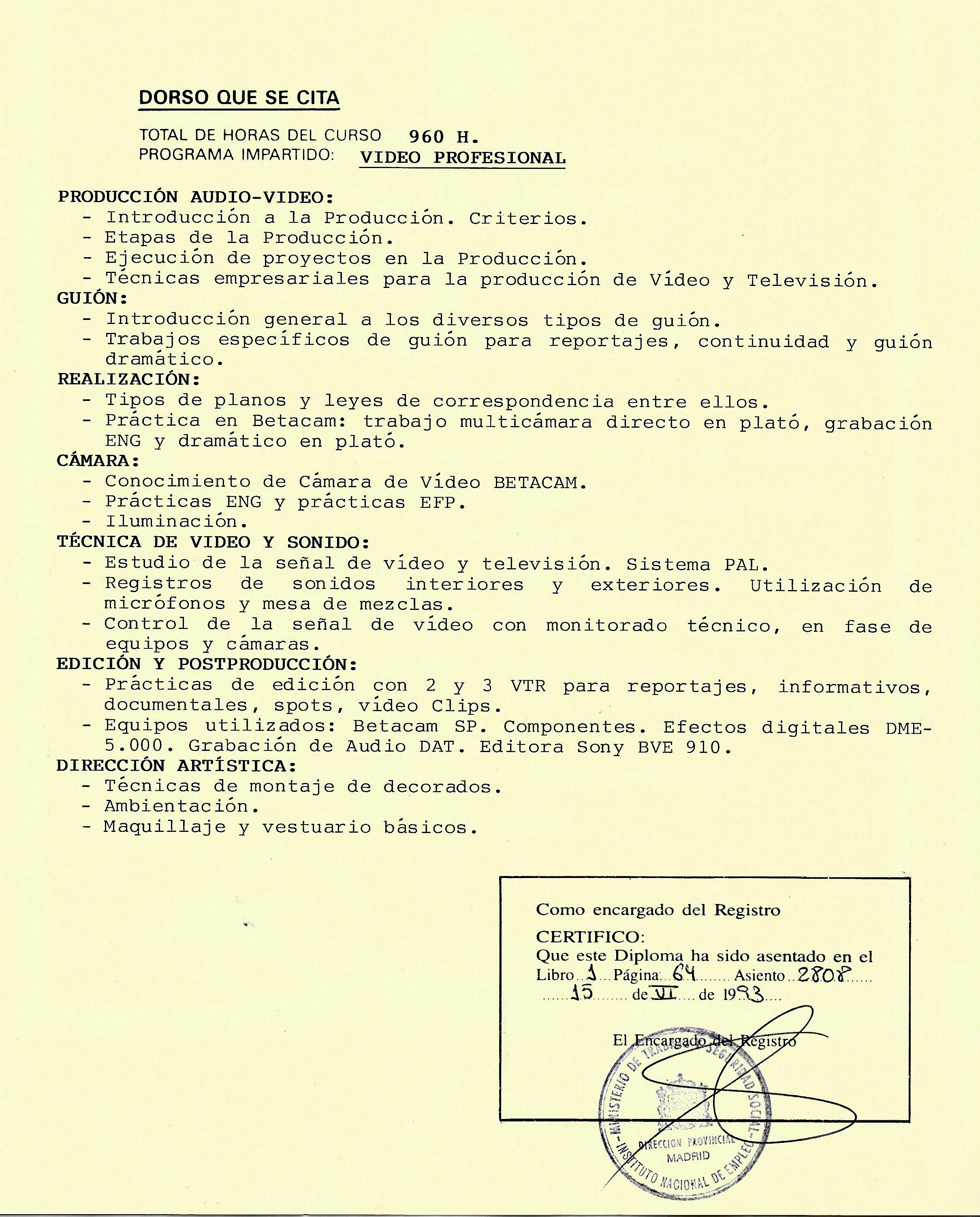 CURSO DE VIDEO PROFESIONAL MAGERIT REVERSO