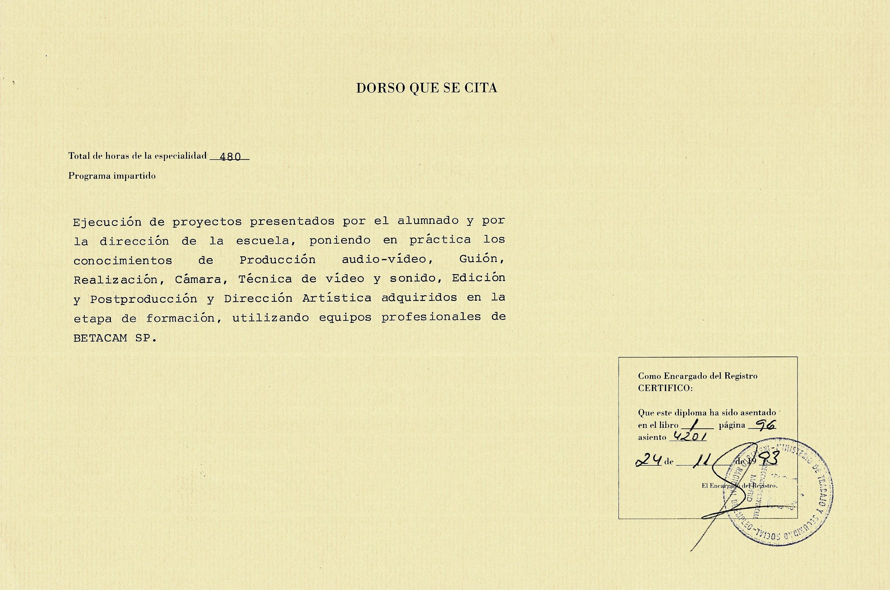 CURSO DE VIDEO PROFESIONAL MINISTERIO DE TRABAJO REVERSO