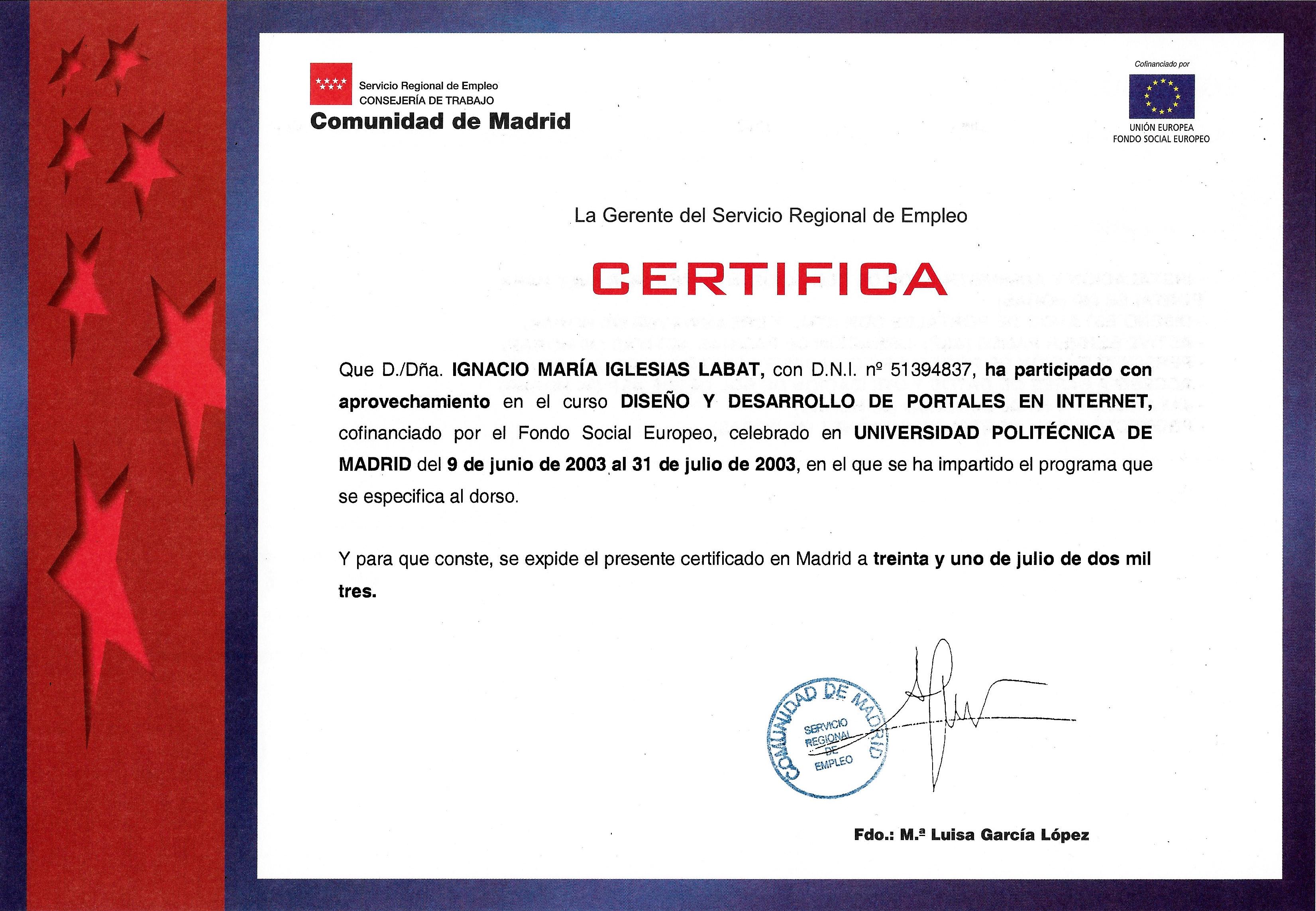 Certificación Diseño y Desarrollo de Portales en Internet