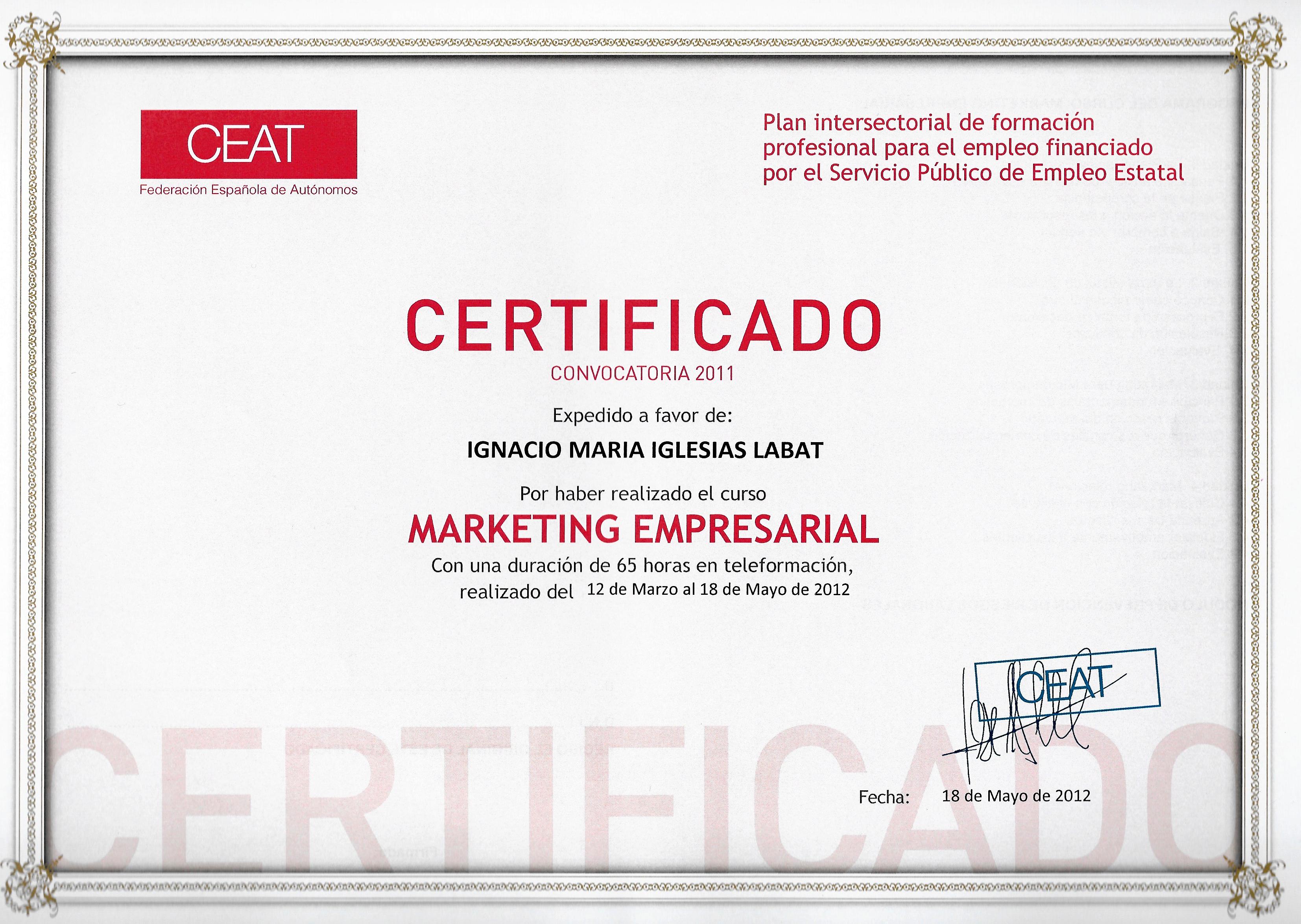 Diploma Marketing Empresarial   CEAT