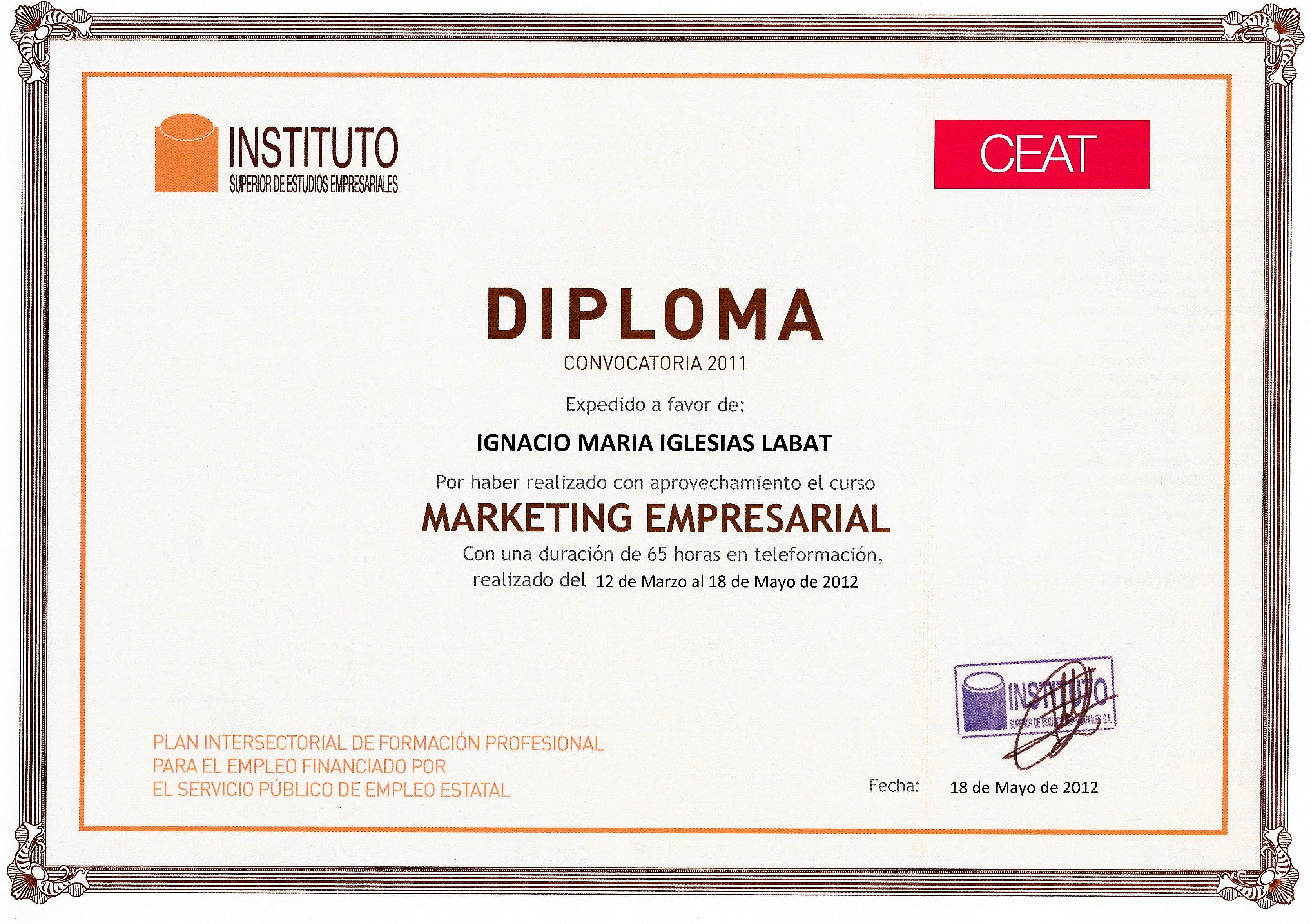 Diploma Margeting Empresarial   INSTITUTO SUPERIOR DE ESTUDIOS EMPRESARIALES