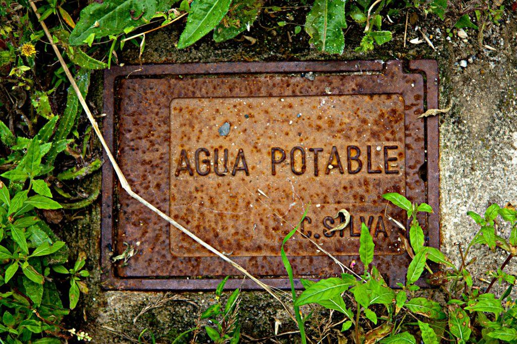 Agua potable rodeada de verde
