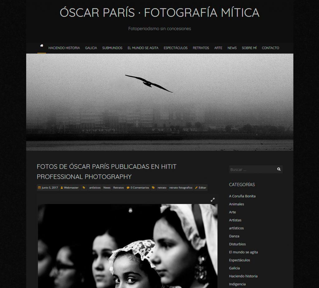 web provisional de Óscar París, desarrollada por trespies arte y publicidad