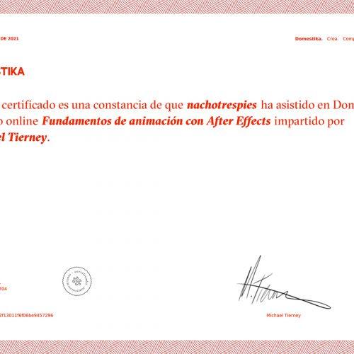 Certificado Domestika Curso Fundamentos de Animación con After Effects Michael Tierney