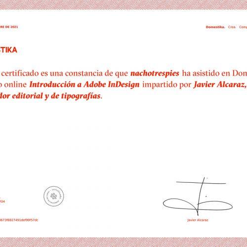 Certificado Domestika Curso Introducción a InDesign por Javier Alcaraz