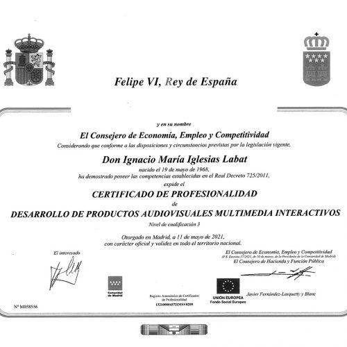 Certificado de Profesionalidad Desarrollo de productos multimedia interactivos